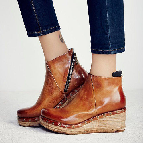 Fashion Leather Slope Heel Boots