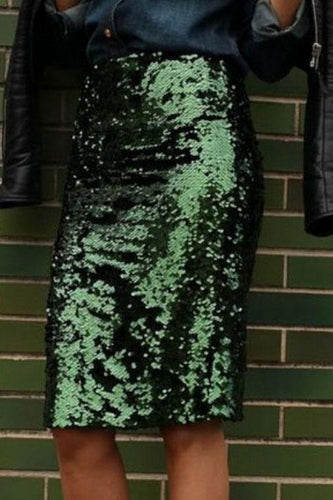 Sexy Slim Fit Plain Sequins Green Bodycon Dress