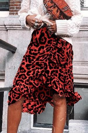 Red Leopard Casual Skirt
