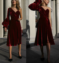 Load image into Gallery viewer, Sexy Fashion Single   Shoulder Pure Color Bubble Sleeve Dress