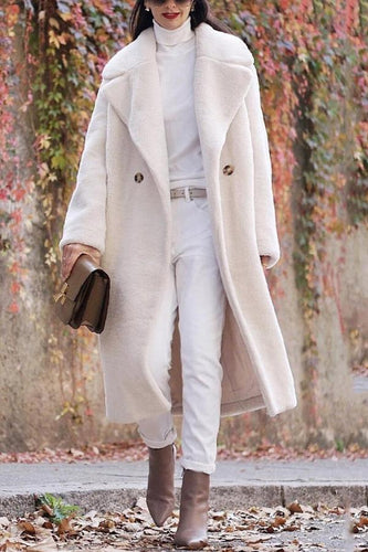 Fashion Lapel Collar Plain Floss Two Buttons  Long Coat