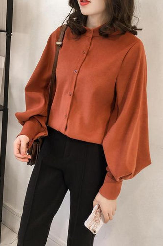 Fashion Pure Colour Loose Long Sleeve Shirt