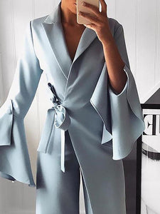 Fashion Pure Colour Bell Sleeve Jumpsuits