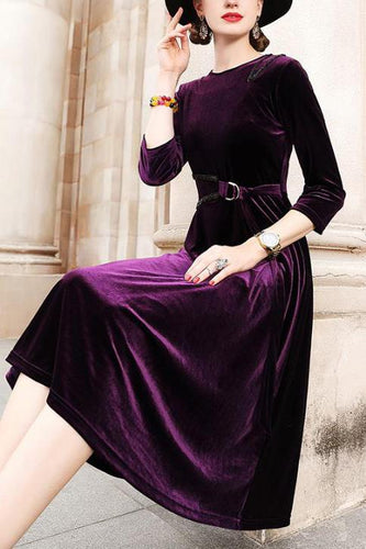 Elegant Fashion Slim Solid Color Long Sleeve Maxi Dress