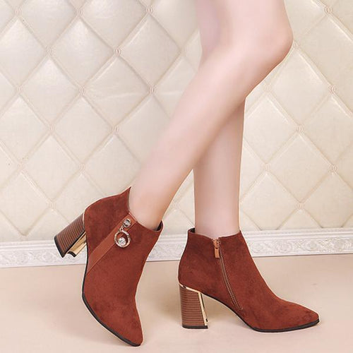 Fashion Short-Tube High-Heel Ankle Boots