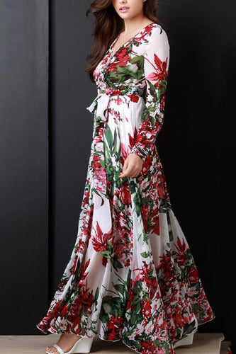 Elegant Retro Floral Slim V Neckline Long Sleeve Maxi Dress