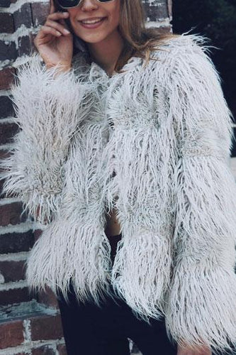 Sweet Plain Winter Faux Fur Short Thicken Coat