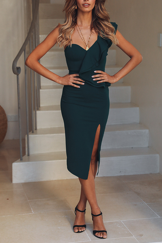 Sexy One Shoulder Plain Tight Slit Bodycon Dress
