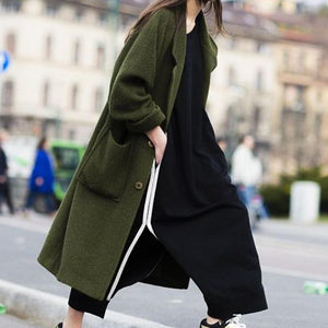 Women Plain Woolen Coat  Warm Outerwear