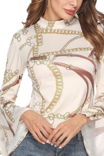 Fashion High Collar Slim Printed Pagoda Sleeve Shirt