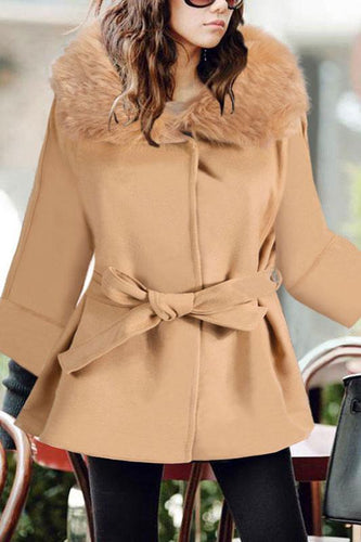 Casual Lapel Collar With Faux Fur  Plain Loose Woolen Long Coat