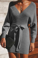 Load image into Gallery viewer, Sexy Fashion V Collar Long Sleeves Slim Bodycon Sweater Dress