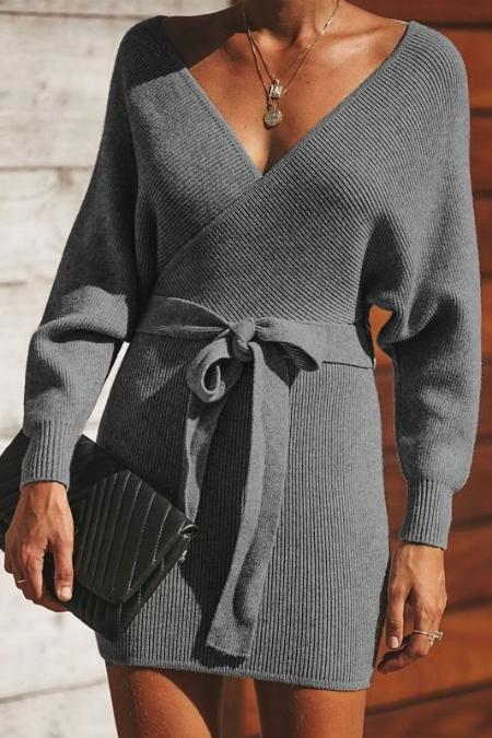 Sexy Fashion V Collar Long Sleeves Slim Bodycon Sweater Dress
