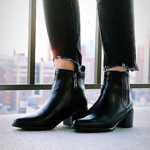 Stylish Women Leather Middle Height Heel Boots