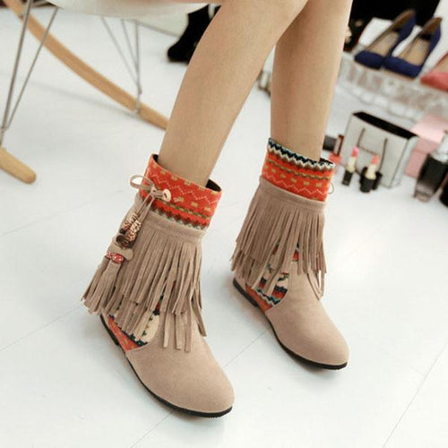 Fashion Nationality Style Women Tassel Boots