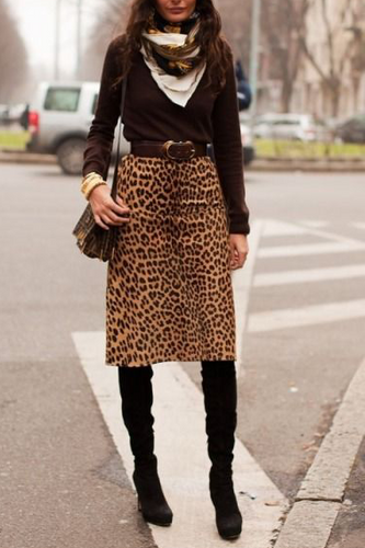 Fashion High Waist Leopard Printed Long Skirt