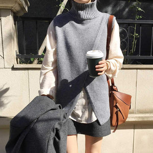 Casual High Collar Slit Pure Colour Vest Sweater