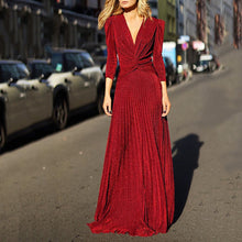 Load image into Gallery viewer, Fashion V-Neck Long-Sleeved Dress