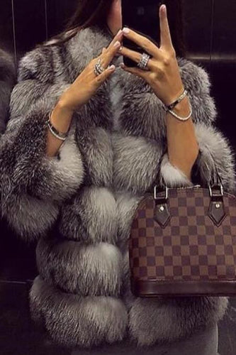 Fashion Faux Fur Long Sleeve Coats