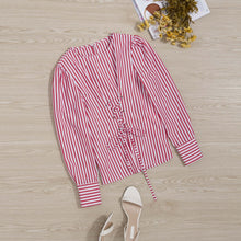 Load image into Gallery viewer, Fashion Casual Round Collar Long Sleeves Color Block Stripe Blouse