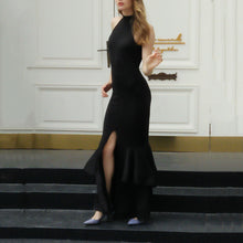 Load image into Gallery viewer, Sexy Halter Off Shoulder Plain Slim Slit Evening Dress