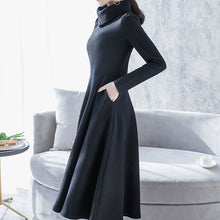 Load image into Gallery viewer, Fashion High Collar Plain Thicken Knit Shift Dress