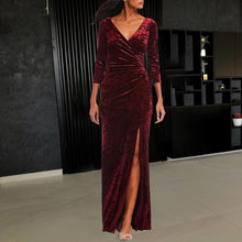 Load image into Gallery viewer, Sexy Gold Velvet  V-Neck Cropped Sleeves Slit Evening Dress