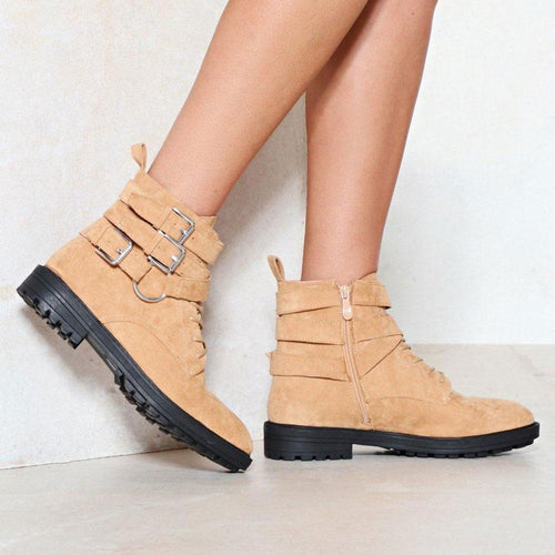 Simple Winter Plain Buckle Perfect Neutral Rivets Boots