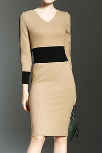 Fashion Round Collar Plain Defined Waist Split Joint Bodycon Dress