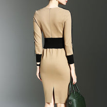 Load image into Gallery viewer, Fashion Round Collar Plain Defined Waist Split Joint Bodycon Dress