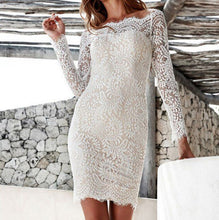 Load image into Gallery viewer, Sexy Off Shoulder Plain Lace Slim  Bodycon Dress