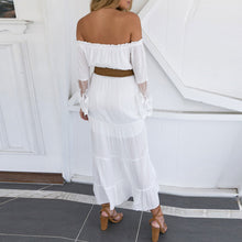 Load image into Gallery viewer, Sexy Off Shoulder Plain Lace Split Joint Hollow Maxi Dress