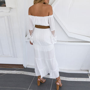 Sexy Off Shoulder Plain Lace Split Joint Hollow Maxi Dress