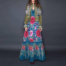Load image into Gallery viewer, Fashion Floral Pattern Printed Bell Sleeve Maxi Dress