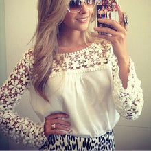 Load image into Gallery viewer, Fashion Chiffon Lace Split Joint Plain Shirt