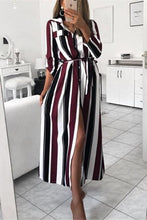Load image into Gallery viewer, Fashion Colour Striped Printed Loose Shirt Maxi Dress