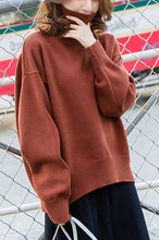 Load image into Gallery viewer, Fashion High Collar Plain Loose Soft Sweater