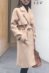 Fashion Lapel Plain Two-Sided Woolen Longh Coat With Waistband