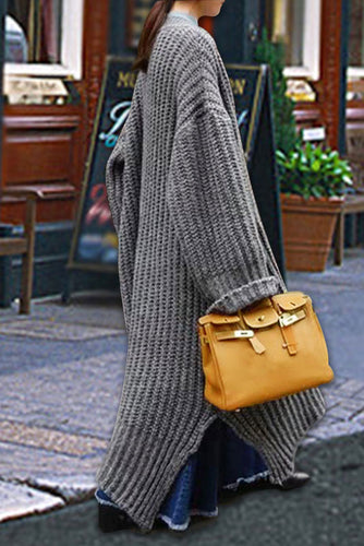 Casual Plain Thicken Loose Long Sweater Cardigan