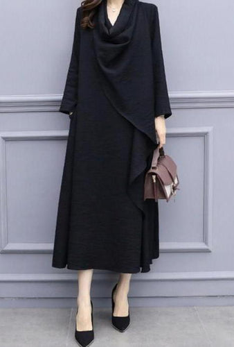 Fashion Heap Collar Loose Knit Sweater Maxi Dress