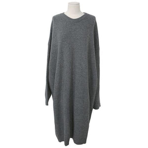 Round Neck Pure Color Loose Knitted Sexy Shift Dress