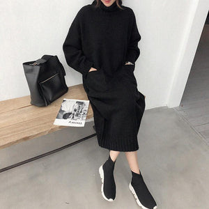 High Collar Thick Pocket Knit Dress