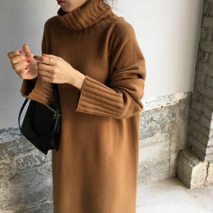 Casual Fashion High Collar Long Sleeves Plain Warm Long Sweater Dress