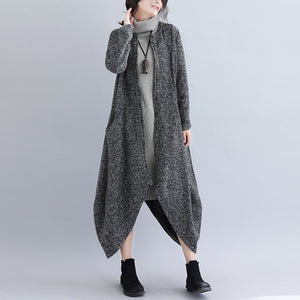 Casual Fashion Plain Loosen Irregular Hem Long Cardigan