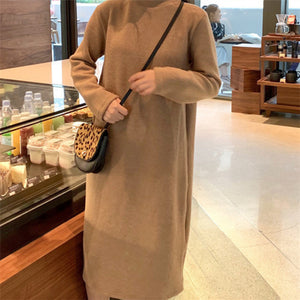 Casual Round Collar Plain Loose Knit Sweater Maxi Dress