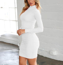 Load image into Gallery viewer, Fashion High Collar Sexy Long Sleeve Mini Bodycon Dress