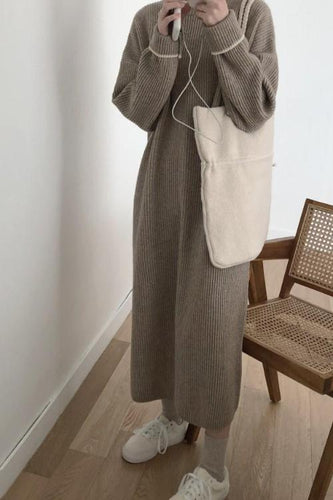 Loose Plain Long Knit Sweater Dress