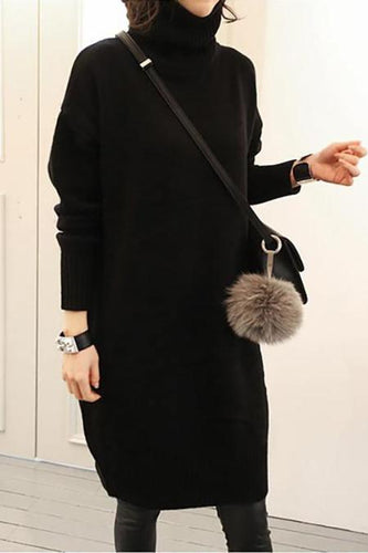 High Collar Slim Knit Sweater Dress