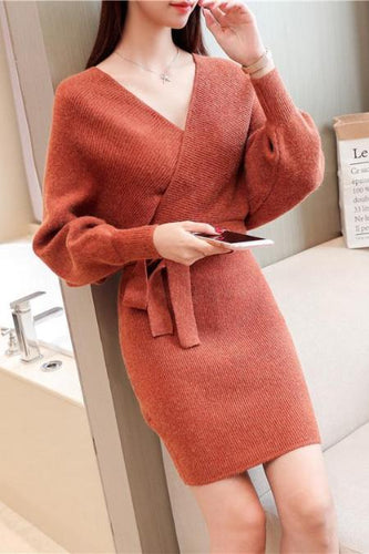 Sexy V-Neck Slim Knit Sweater Bag Hip Shift Dress