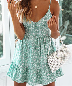 Sexy V Neck Print Halter Dress
